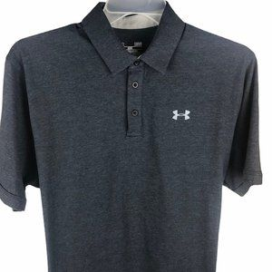 Under Armour Heat Gear Polo Shirt Large Gray Mens